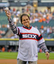 FILE - In this Aug. 30, 2014, file photo, former Chicago White Sox manager Tony La Russa throws out a ceremonial first pitch before the second baseball game of a baseball doubleheader against the Detroit Tigers in Chicago. La Russa, the Hall of Famer who won a World Series championship with the Oakland Athletics and two more with the St. Louis Cardinals, is returning to manage the Chicago White Sox 34 years after they fired him, the team announced Thursday, Oct. 29, 2020. (AP Photo/Matt Marton, File)