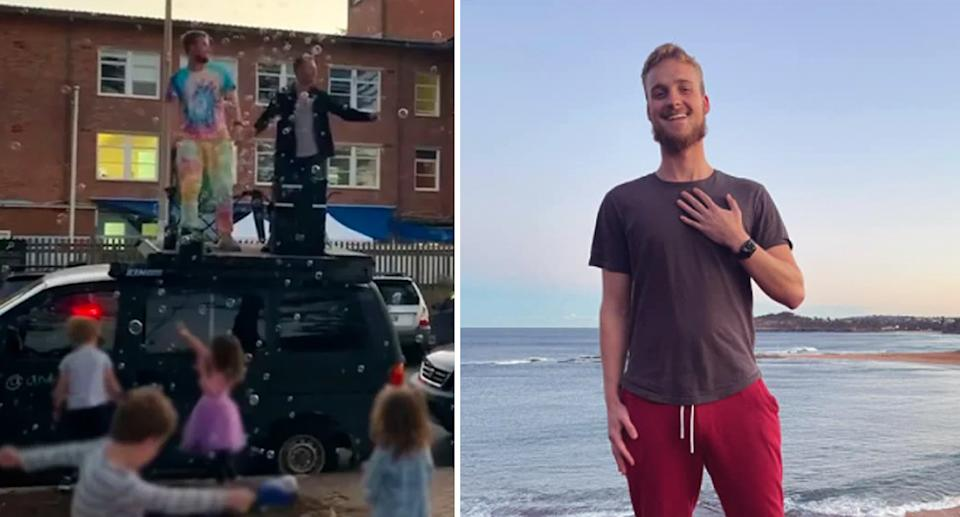 Andrew Riis is pictured on top of his vehicle earlier this month (left), and right on the beach. Source: Facebook