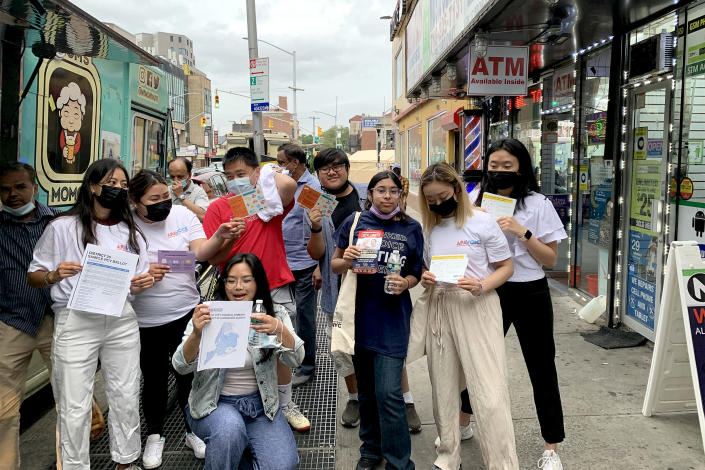 Get-out-the-vote initiatives in predominantly Asian American neighborhoods are not only aimed at registering people to vote but also teaching them about ranked-choice voting. (MinKwon Center for Community Action / APA)