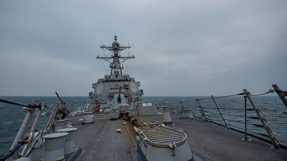 A US navy ship in the Taiwan Strait