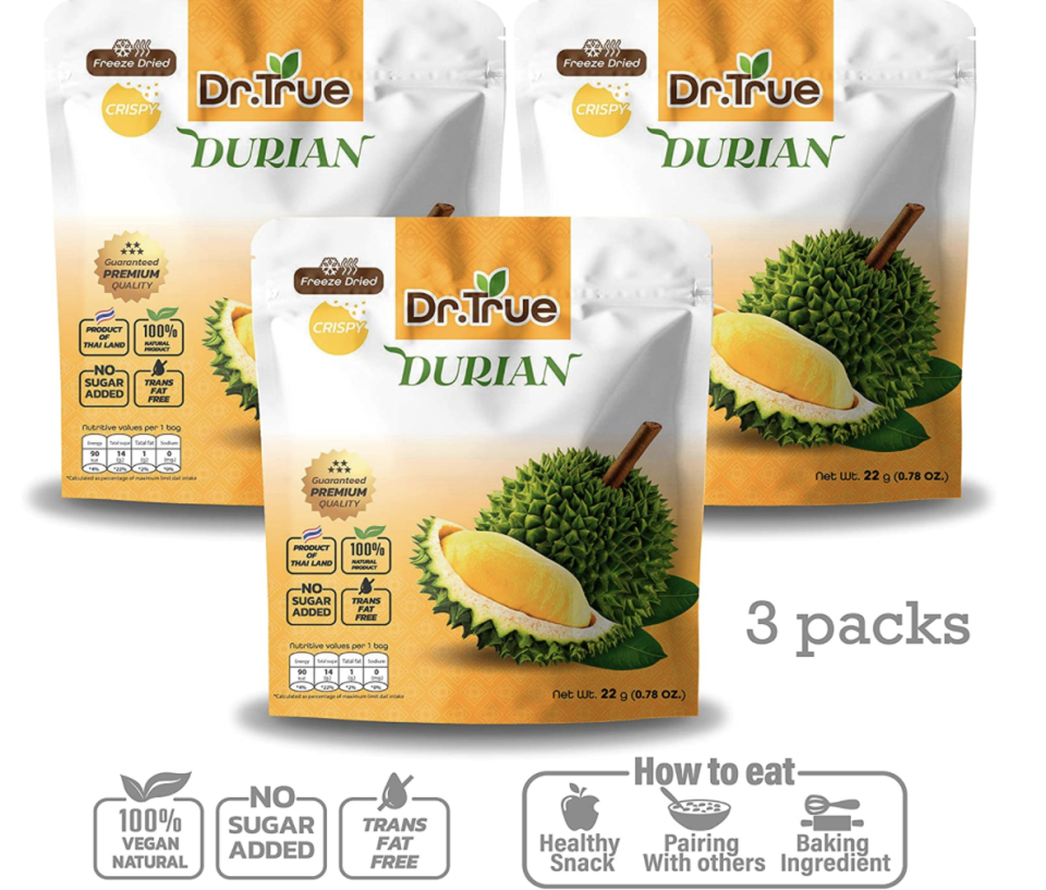 Dr.True freeze-dried fruit, durian crisps, healthy snack, 3 packs (22g/packs), S$18. PHOTO: Amazon