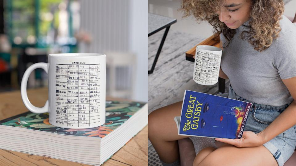 Best gifts for book lovers: Library card mug