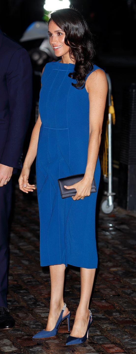 """<p>For the '100 Days to Peace' concert at Westminster Hall, Meghan was dressed in stunning <a href=""""https://www.elle.com/uk/fashion/celebrity-style/a23003482/meghan-markle-prince-harry-music-gala-evening/"""" rel=""""nofollow noopener"""" target=""""_blank"""" data-ylk=""""slk:bespoke blue Jason Wu dress"""" class=""""link rapid-noclick-resp"""">bespoke blue Jason Wu dress</a>. </p><p>Accessories wise, she teamed her outfit with <a href=""""https://www.farfetch.com/uk/shopping/women/aquazzura-portrait-of-a-lady-pumps-item-12807223.aspx?storeid=9981&size=23&pid=googleadwords_int&af_channel=Search&c=629762120&af_c_id=629762120&af_keywords=aud-296930551369%3Apla-383089413039&af_adset_id=52804059504&af_ad_id=218064673083&is_retargeting=true&shopping=yes&gclid=EAIaIQobChMI75mom53M3QIVAZOPCh1nNAPDEAQYASABEgJC4fD_BwE"""" rel=""""nofollow noopener"""" target=""""_blank"""" data-ylk=""""slk:Aquazzura Portrait of a Lady pumps"""" class=""""link rapid-noclick-resp"""">Aquazzura Portrait of a Lady pumps</a>, a bespoke blue clutch by Dior, and <a href=""""https://www.maisonbirks.com/en/birks-snowflake-snowstorm-diamond-earrings-in-white-gold"""" rel=""""nofollow noopener"""" target=""""_blank"""" data-ylk=""""slk:Birks' Snowflake Snowstorm diamond earrings"""" class=""""link rapid-noclick-resp"""">Birks' Snowflake Snowstorm diamond earrings</a>, September 2018. </p>"""