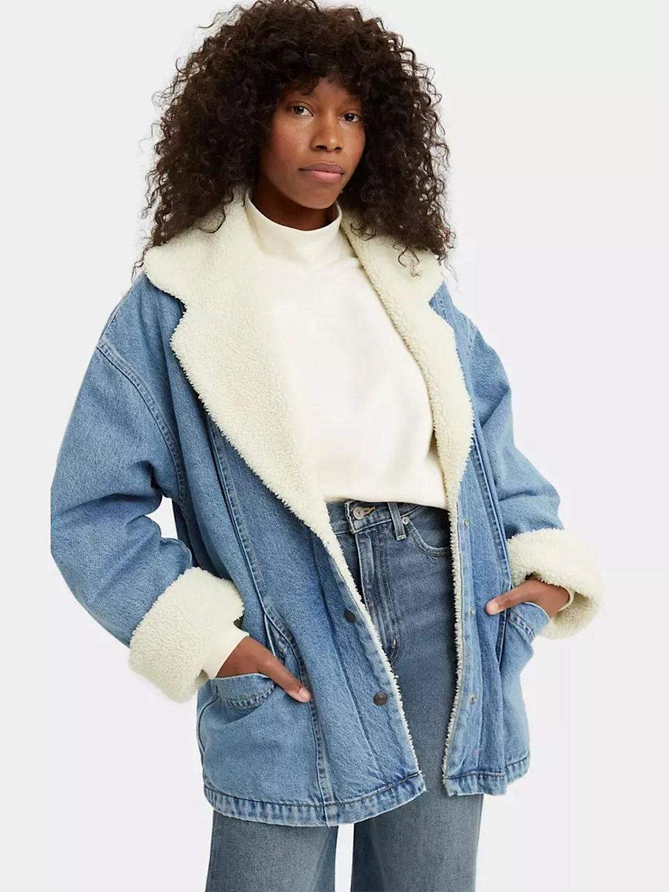 """Not ready to give up your denim jacket for colder temps? No worries—with this one, you won't have to. $178, Levi's. <a href=""""https://www.levi.com/US/en_US/clothing/women/outerwear/retro-collar-sherpa-jacket/p/A08210000"""" rel=""""nofollow noopener"""" target=""""_blank"""" data-ylk=""""slk:Get it now!"""" class=""""link rapid-noclick-resp"""">Get it now!</a>"""