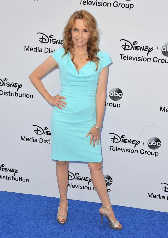 BURBANK, CA - MAY 19:  Actress Lea Thompson arrives at the Disney Media Networks International Upfronts at Walt Disney Studios on May 19, 2013 in Burbank, California.  (Photo by Angela Weiss/Getty Images)