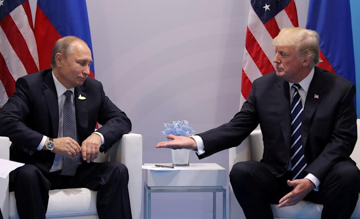 Trump meets with Russian President Vladimir Putin during their bilateral meeting at the G20 summit in Hamburg, Germany, on July 7.