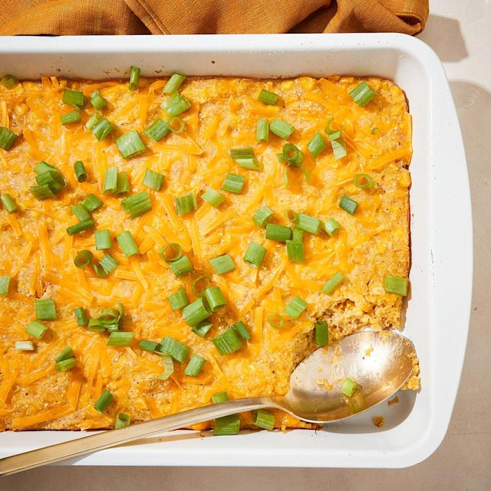 <p>This cheesy corn casserole is surprisingly light and fluffy, thanks to eggs and a whirl in the blender. The sweet corn batter and salty Cheddar cheese make this casserole pleasing to kids and adults alike.</p>