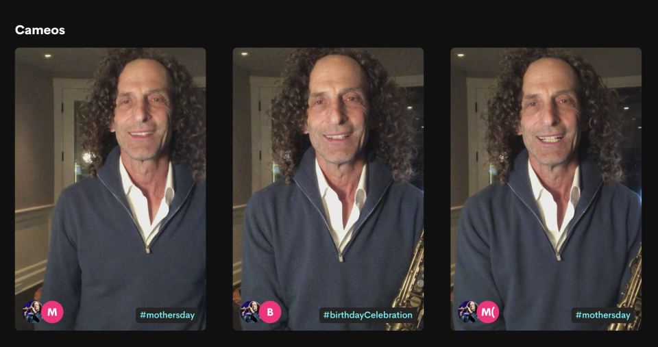Screen grab from Kenny G's Cameo page