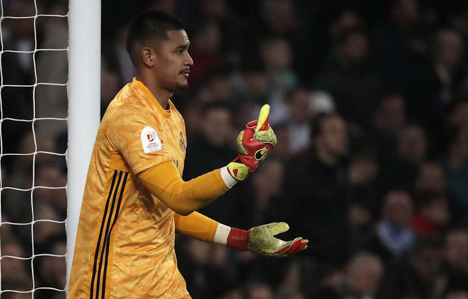 MADRID, SPAIN - FEBRUARY 6: Goalkeeper Alphonse Areola of Real Madrid reacts during the Spanish Copa del Rey match between Real Madrid and Real Sociedad at the Santiago Bernabeu on February 6, 2020 in Madrid, Spain. (Photo by Burak Akbulut/Anadolu Agency via Getty Images)