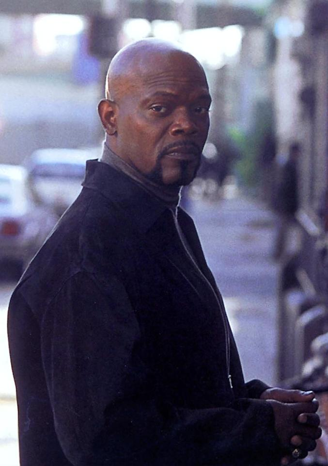 """<a href=""""http://movies.yahoo.com/movie/contributor/1800018848"""">SAMUEL L. JACKSON</a>, <a href=""""http://movies.yahoo.com/movie/1800024436/info"""">Shaft</a>  Over the years, Jackson has sported a bewildering array of silly 'dos, from his outsized Jheri curls in """"<a href=""""http://movies.yahoo.com/movie/1800233344/info"""">Pulp Fiction</a>"""" to that asymmetrical Afro in """"<a href=""""http://movies.yahoo.com/movie/1802761041/info"""">Unbreakable</a>,"""" but in reality he's completely bald. And in the remake of """"Shaft,"""" he lets his dome shine."""
