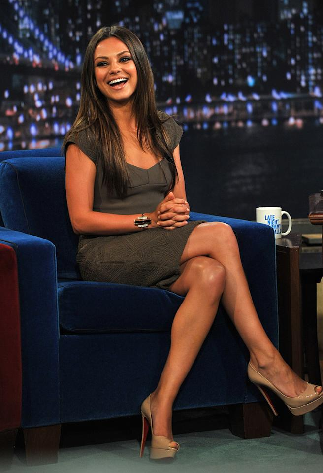 """Last but certainly not least ... the adorable Mila Kunis, who stopped by """"Late Night with Jimmy Fallon"""" to promote her new movie, """"Friends with Benefits,"""" in a rockin' Roland Mouret jacquard dress, which retails for $2,745. Her perfect accessories included nude patent leather Louboutin peep-toes and a metallic Jack Vartanian bracelet.   Follow 2 Hot 2 Handle creator, <a href=""""http://bit.ly/lifeontheMlist"""" target=""""new"""">Matt Whitfield</a>, on Twitter! Theo Wargo/<a href=""""http://www.gettyimages.com/"""" target=""""new"""">GettyImages.com</a> - July 18, 2011"""
