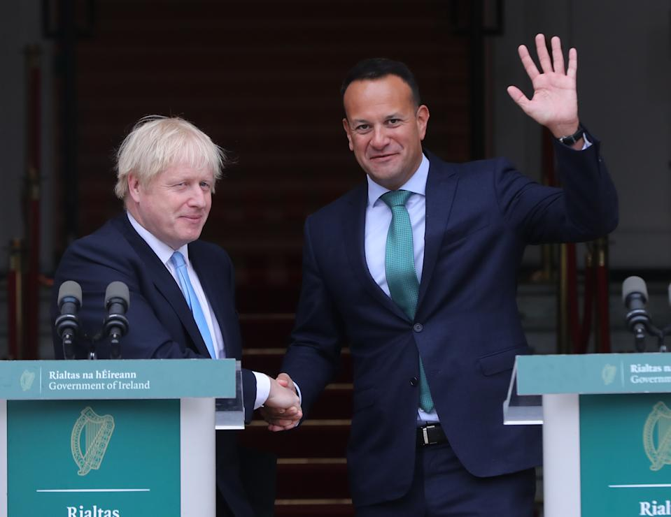 EMBARGOED TO 0001 THURSDAY DECEMBER 26 File photo dated 9/9/2019 of Leo Varadkar meeting Boris Johnson in Government Buildings in Dublin. Ireland�s premier has said he will not dismiss the idea of building a bridge between Northern Ireland and Scotland, but insisted the UK must pay for it.