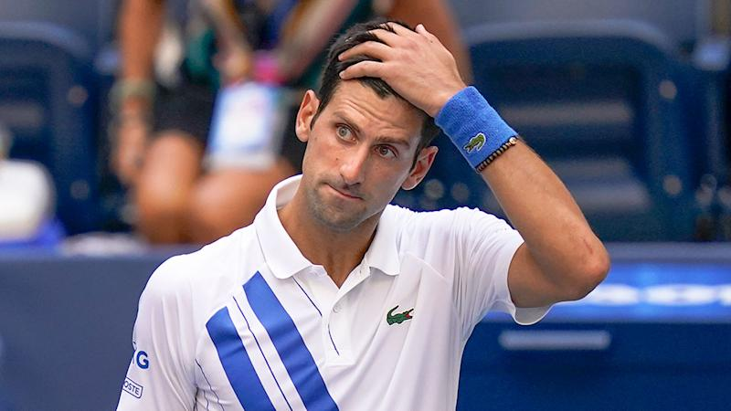 Pictured here, Novak Djokovic looks rattled during the 2020 US Open tournament.