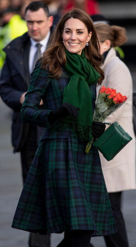 Kate Middleton, Duchess of Cambridge, officially opens the V&A Dundee museum and greets the public while wearing a McQ by Alexander McQueen tartan Black Watch coat on Jan. 29 in Dundee, Scotland. (Photo: Mark Cuthbert via UK Press)