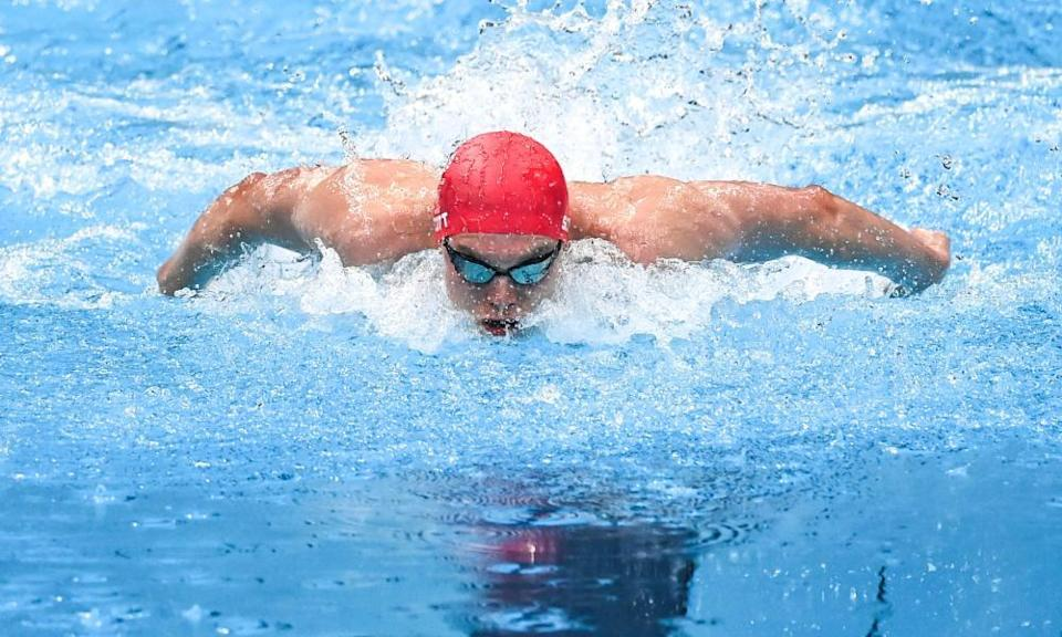 Duncan Scott of Great Britain competes during the men's 200m individual medley final.