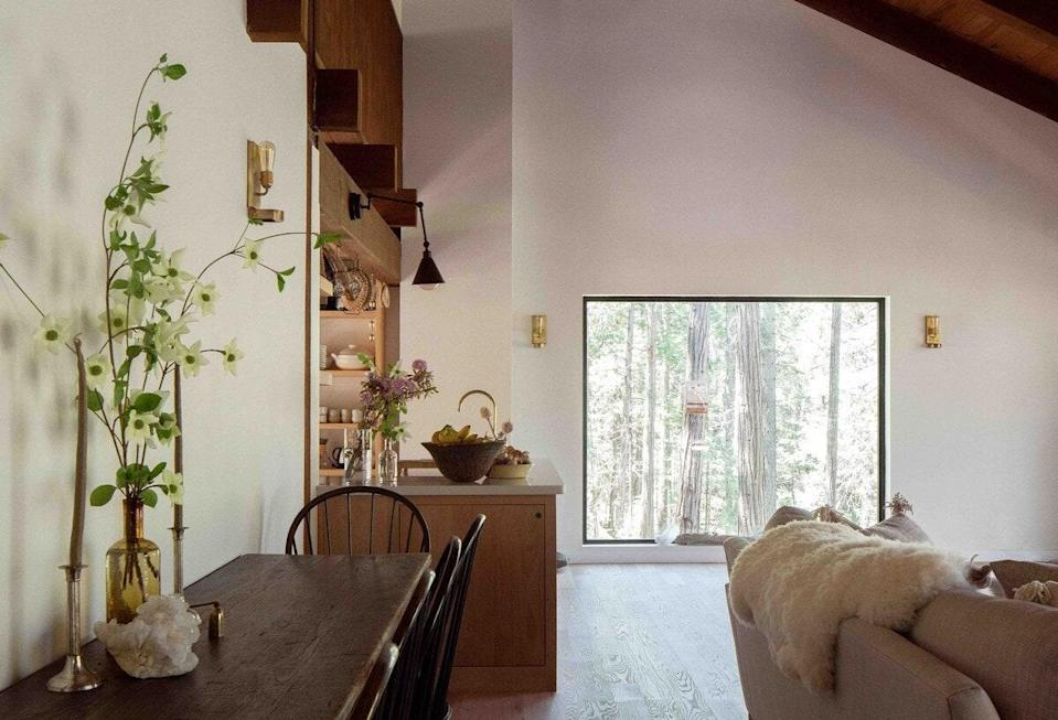 "<p><strong>Mariposa, California</strong></p> <p>There's a lot to love about this zen Mariposa home, from the meditation mats and sound bath bowls to the picture window overlooking the forest. The well-stocked kitchen houses a local CSA delivery and high-end appliances from the likes of Smeg, Wolf, and Le Creuset; in the bedrooms and bathrooms, you'll find organic beauty products and <a href=""https://www.cntraveler.com/story/madewell-parachute-collection-pajamas-slippers?mbid=synd_yahoo_rss"" rel=""nofollow noopener"" target=""_blank"" data-ylk=""slk:Parachute robes"" class=""link rapid-noclick-resp"">Parachute robes</a>, towels, and sheets. Out back? A hammock made for lazy days reading and napping, a wood pathway down to the creek, and an infrared sauna and outdoor shower. With three bedrooms (two with queen beds, one with two twins), it's an ideal home base for a couples retreat, family getaway, or girls' weekend. </p> <p><strong>Book now:</strong> <a href=""https://airbnb.pvxt.net/y7LXv"" rel=""nofollow noopener"" target=""_blank"" data-ylk=""slk:From $595 per night, airbnb.com"" class=""link rapid-noclick-resp"">From $595 per night, airbnb.com</a></p>"