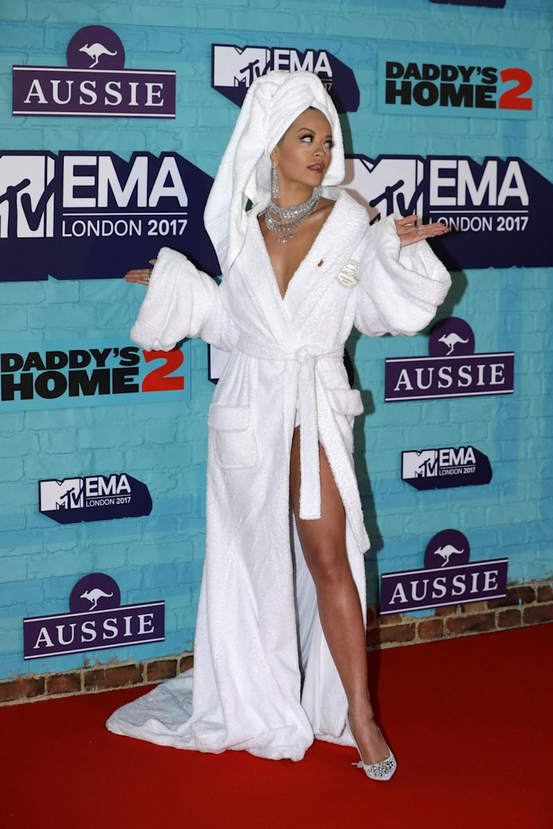 Rita Ora has arrived at the 2017 MTV EMA awards wearing an unusual ensemble. Source: Getty