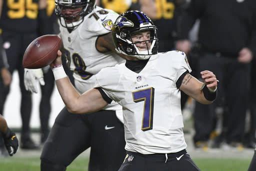 Baltimore Ravens quarterback Trace McSorley (7) throws against the Pittsburgh Steelers during the second half of an NFL football game, Wednesday, Dec. 2, 2020, in Pittsburgh. The Steelers won 19-14. (AP Photo/Don Wright)