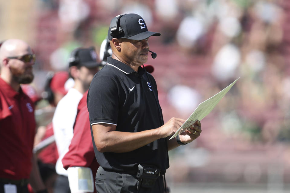 Stanford head coach David Shaw works the sideline during the first half of an NCAA college football game against Oregon in Stanford, Calif., Saturday, Oct. 2, 2021. (AP Photo/Jed Jacobsohn)