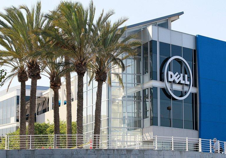 The Dell logo is displayed on the new Dell research and development facility, October 19, 2011, Santa Clara, California