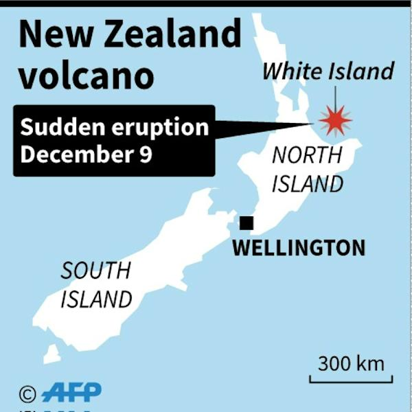 Map locating an erupting volcano in New Zealand. (AFP Photo/)