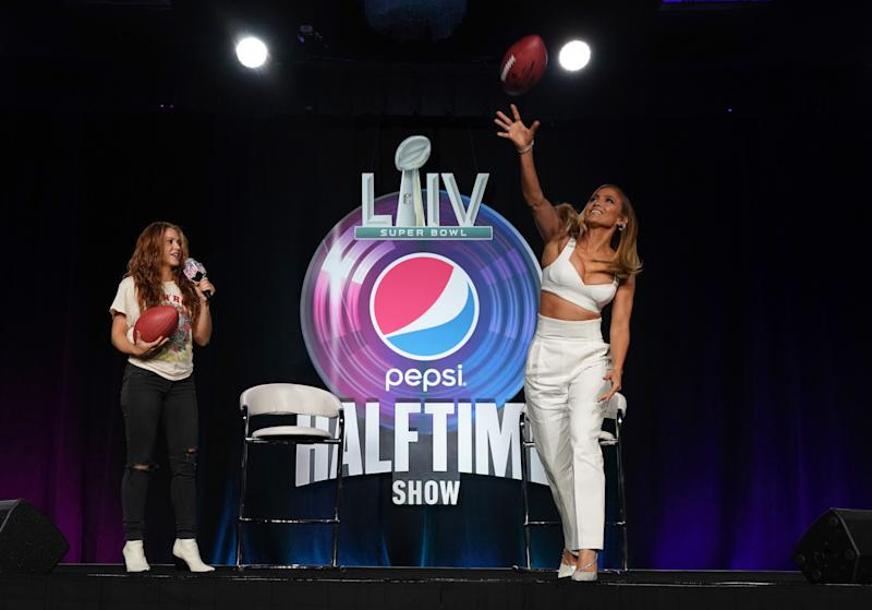 Pepsi Super Bowl LIV Halftime Show Performers Jennifer Lopez and Shakira hold a press conference at the press conference at the Hilton Miami Downtown January 30, 2020 in Miami. - The two will peform the halftime show during Super Bowl LIV between the San Francisco 49ers and the Kansas City Chiefs at the Hard Rock Stadium, Miami Gardens, FL on February 2, 2020. (Photo by TIMOTHY A. CLARY / AFP) (Photo by TIMOTHY A. CLARY/AFP via Getty Images)