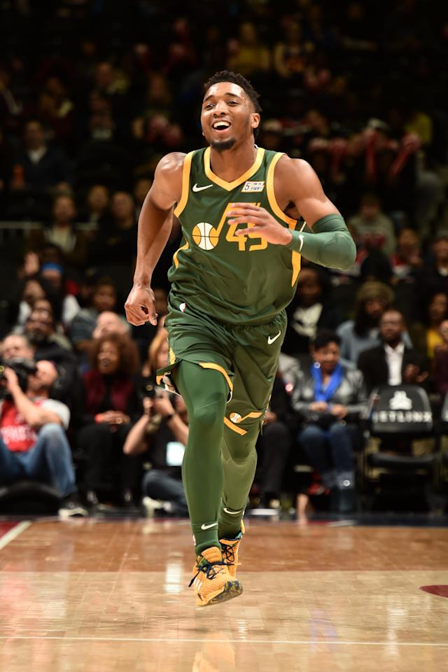 WASHINGTON, DC - MARCH 18: Donovan Mitchell #45 of the Utah Jazz smiles against the Washington Wizards on March 18, 2019 at the Capital One Arena in Washington, DC. (Photo by David Dow/NBAE via Getty Images)