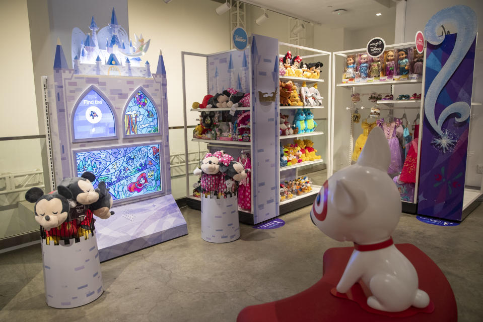 In this Wednesday, Oct. 23, 2019, photo shows a Disney interactive display during a Target Holiday Outlook event in New York. Target Corp. says it's spending $50 million more on payroll during the fourth quarter than it did a year ago so that there'll be more workers on hand to help harried shoppers scrambling to get their shopping done in a shorter amount of time. (AP Photo/Mary Altaffer)