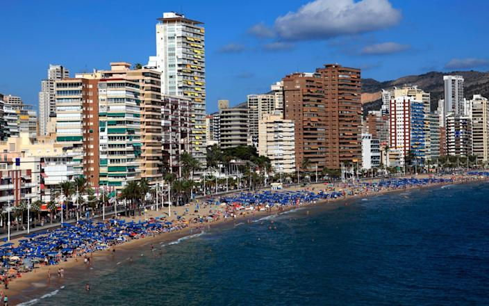 View along Playa De Levante beach in Valencia's Costa Blanca - Dave Porter Peterborough UK/Getty Images Contributor