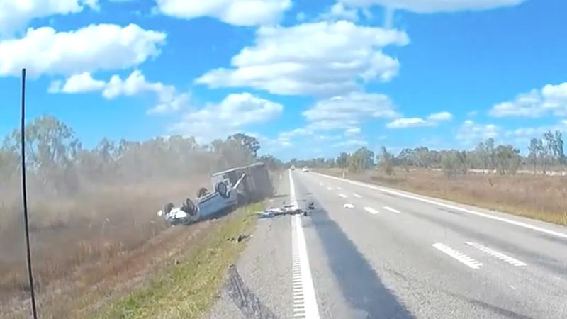 Police have said, remarkably, the driver and his passenger only sustained minor injuries. Source: Queensland Police.