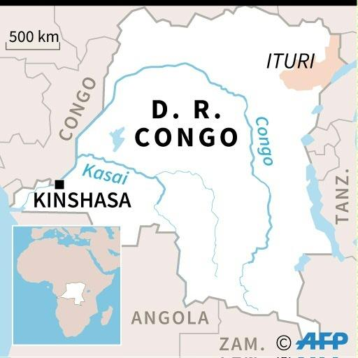 Map locating Ituri province in DR Congo, where the atrocities linked to by Ntaganda took place in 2002-3