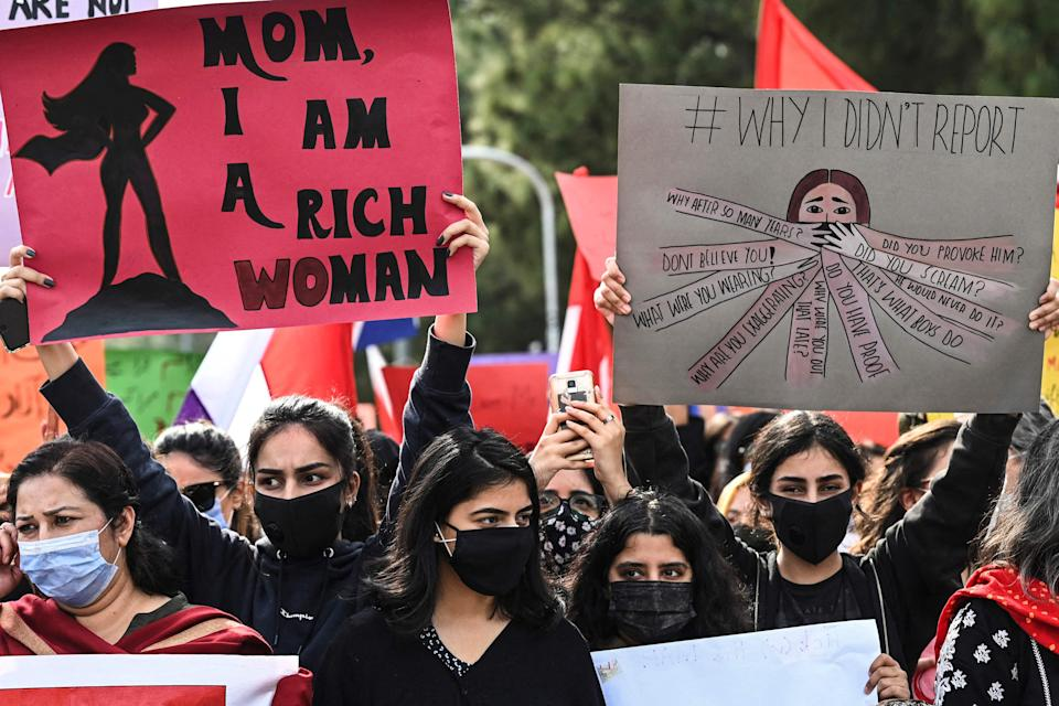 <p>Activists of 'Aurat March' during a rally to mark International Women's Day in Islamabad on 8 March, 2021.</p> (AFP via Getty Images)