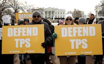 <p>Demonstrators hold signs protesting the termination of Salvadorans' Temporary Protected Status (TPS) in front of the White House in Washington, Jan. 8, 2018. (Photo: Kevin Lamarque/Reuters) </p>