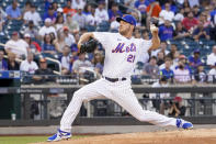 New York Mets pitcher Rich Hill delivers in the first inning of the baseball game against the Cincinnati Reds, Saturday, July 31, 2021, in New York. (AP Photo/Mary Altaffer)
