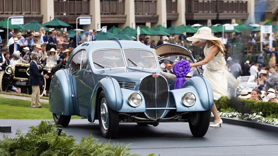 The fabled 1936 Bugatti Type 57SC Atlantic receives special commendation at the 2021 Pebble Beach Concours d'Elegance. - Credit: Photo by Tom O'Neal, courtesy of Rolex.