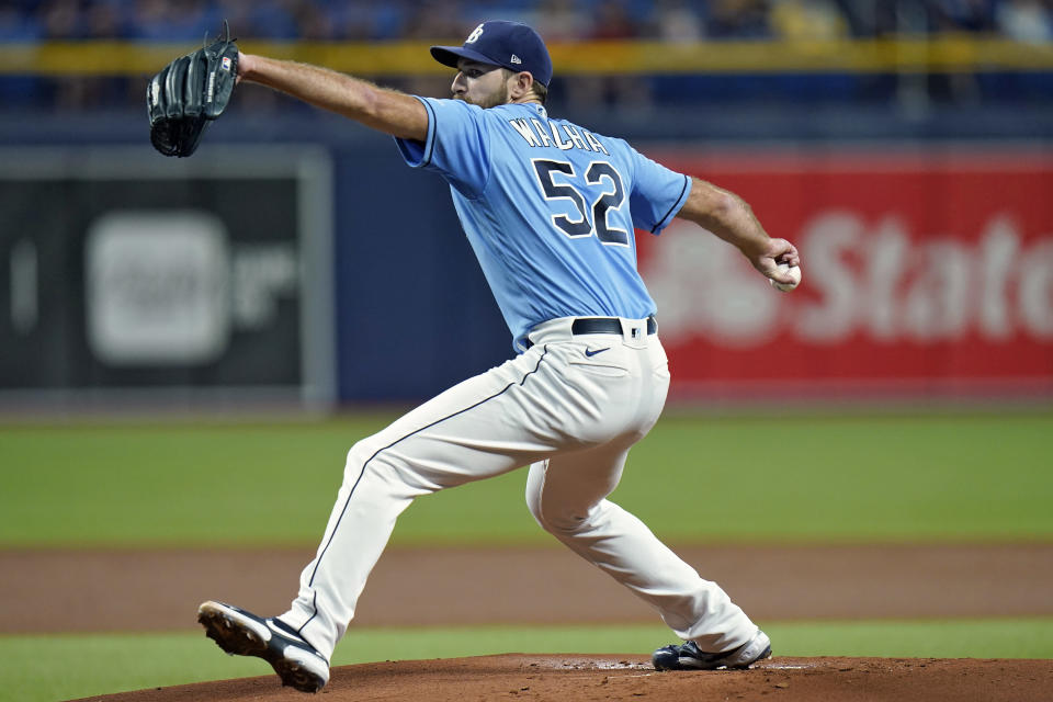 Tampa Bay Rays' Michael Wacha goes into his windup against the Boston Red Sox during the first inning of a baseball game Thursday, June 24, 2021, in St. Petersburg, Fla. (AP Photo/Chris O'Meara)