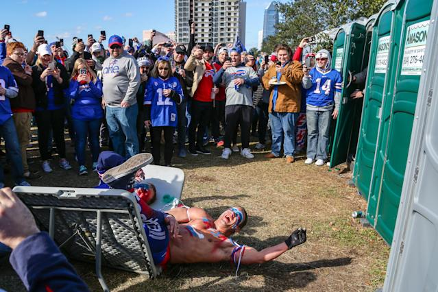 <p>Buffalo Bills fans tailgate during the AFC Wild Card game between the Buffalo Bills and the Jacksonville Jaguars on January 7, 2018 at EverBank Field in Jacksonville, Fl. (Photo by David Rosenblum/Icon Sportswire via Getty Images) </p>