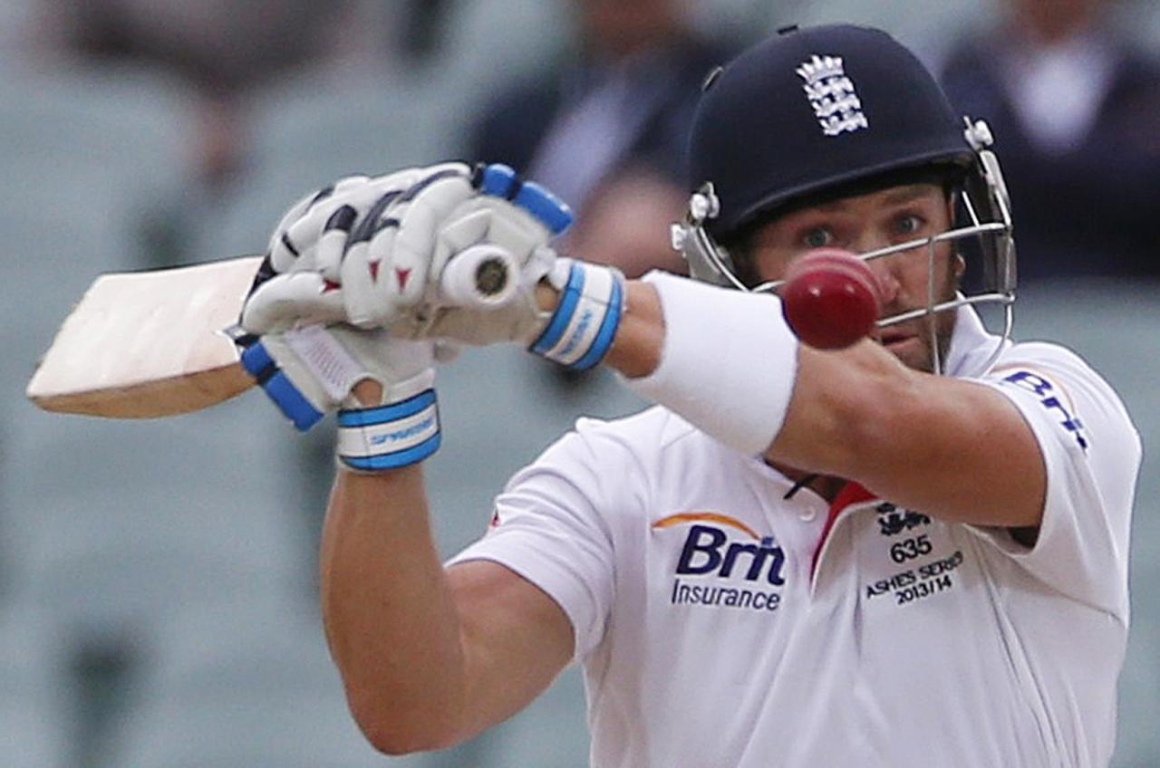 England's Matt Prior plays a shot during the fifth day's play in the second Ashes cricket test against Australia at the Adelaide Oval December 9, 2013. REUTERS/David Gray (AUSTRALIA - Tags: SPORT CRICKET TPX IMAGES OF THE DAY)