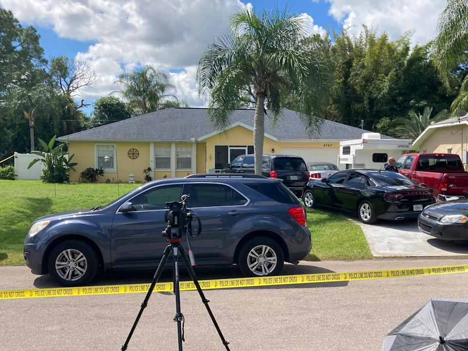 Police tape blocks off the home of the Laundrie family in North Port, Fla., Monday, Sept. 20, 2021.