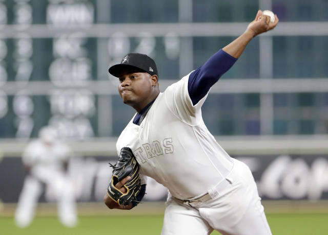 Houston Astros starting pitcher Framber Valdez throws against the Los Angeles Angels during the first inning of a baseball game Sunday, Aug. 25, 2019, in Houston. (AP Photo/Michael Wyke)