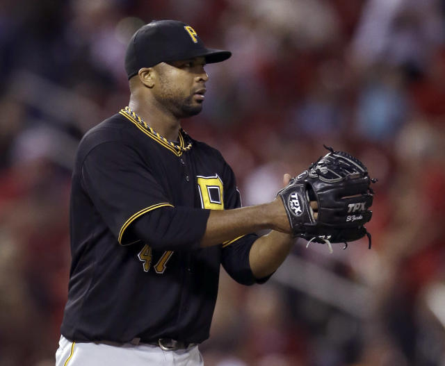 Pittsburgh Pirates starting pitcher Francisco Liriano celebrates after getting St. Louis Cardinals' Allen Craig to fly out for the final out of a baseball game Wednesday, Aug. 14, 2013, in St. Louis. Liriano threw a complete game in the Pirates' 5-1 victory. (AP Photo/Jeff Roberson)