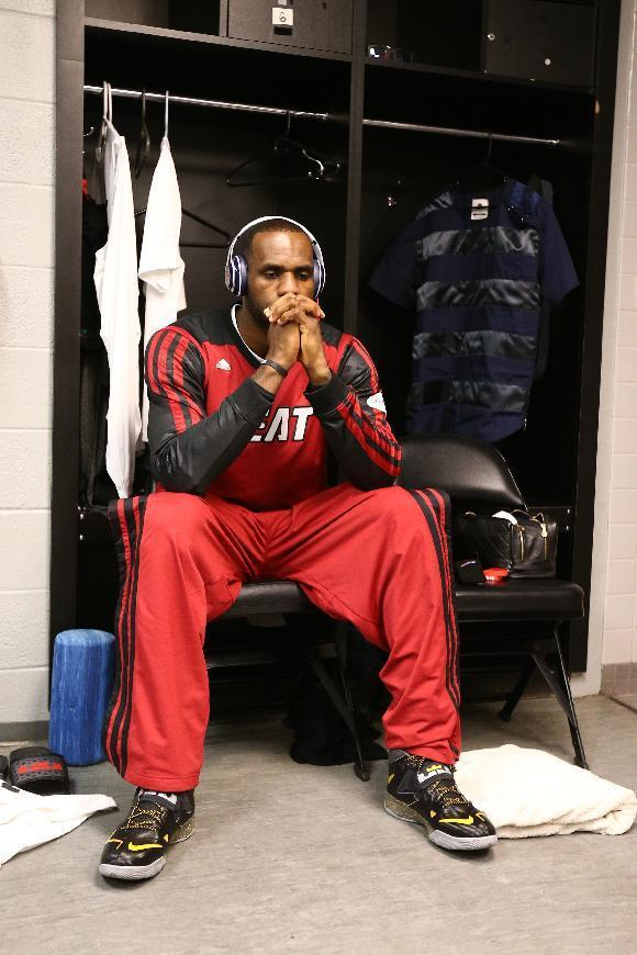 SAN ANTONIO, TX - JUNE 15: LeBron James #6 of the Miami Heat in the locker room before Game Five of the 2014 NBA Finals against the San Antonio Spurs at AT&T Center on June 15, 2014 in San Antonio, Texas. (Photo by Nathaniel S. Butler/NBAE via Getty Images)