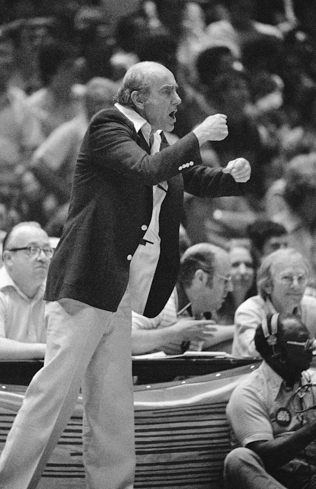 FILE - In this May 22, 1977, file photo, Portland Trail Blazers head coach Jack Ramsay signals to his team late in an NBA basketball game against the 76ers in Philadelphia. Ramsay, a Hall of Fame coach who led the Portland Trail Blazers to the 1977 NBA championship before he became one of the league's most respected broadcasters, has died following a long battle with cancer. He was 89. (AP Photo/File)