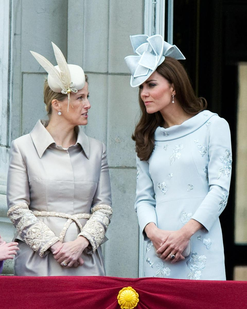 <p>Kate donned a bespoke ensemble by Erdem for 2012's Trooping the Colour. She wore a matching hat by favoured milliner, Jane Corbett, and carried a suede get Alexander McQueen clutch. </p><p><i>[Photo: PA]</i></p>