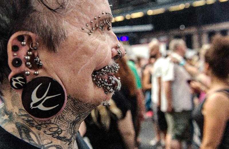 Rolf Buchholz from Dortmund attends the 24th Tattoo Convention at Arena in Berlin, Germany, August 2, 2014