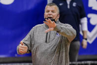 Creighton head coach Greg McDermott calls out to his team during the second half of an NCAA college basketball game against the Seton Hall Wednesday, Jan. 27, 2021, in Newark, N.J. Creighton won 85-81. (AP Photo/Frank Franklin II)