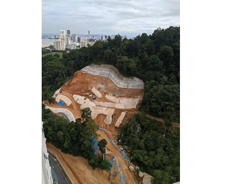 An aerial view of the hill cutting at Mount Erskine. — Picture courtesy of Sahabat Alam Malaysia