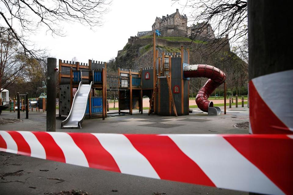 No play zone … a closed-off children's park in Edinburgh last April.