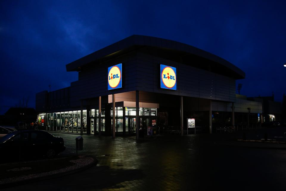 Lidl shop is seen in Bydgoszcz, Poland,  on 4 January, 2017. Lidl has over 10,000 shops in Europe and a revenue of over 60 billion Euros. The organization is currently focusing on transitioning to a more luxury style shop from the original budget based concept. (Photo by Jaap Arriens/NurPhoto via Getty Images)