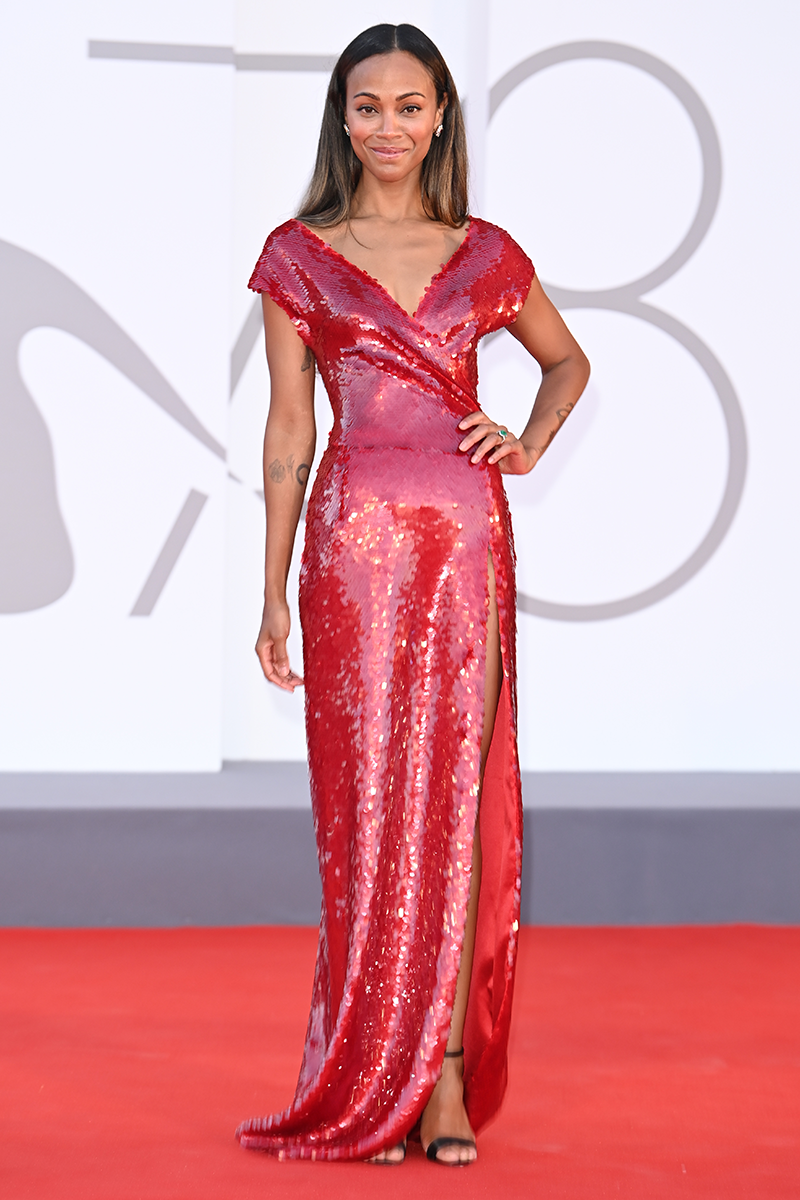 <p>Zoe Saldana turns up the glam in this cherry red sequin Dolce & Gabbana look for the Hand of God red carpet.</p>